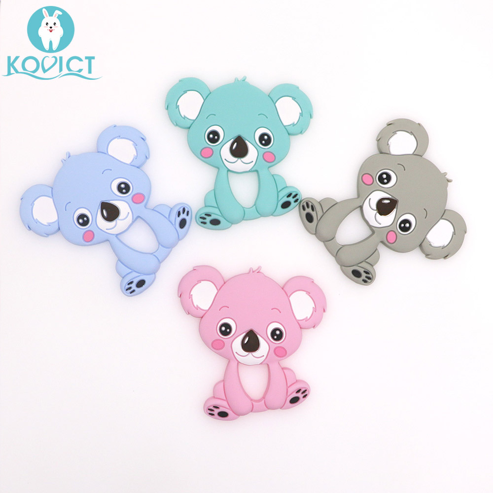 Kovict 1pc Baby Koala Silicone Teether Teething Chew Toy Infant Teether Beads DIY Necklace Nursing Pendant Food Grade Silicone