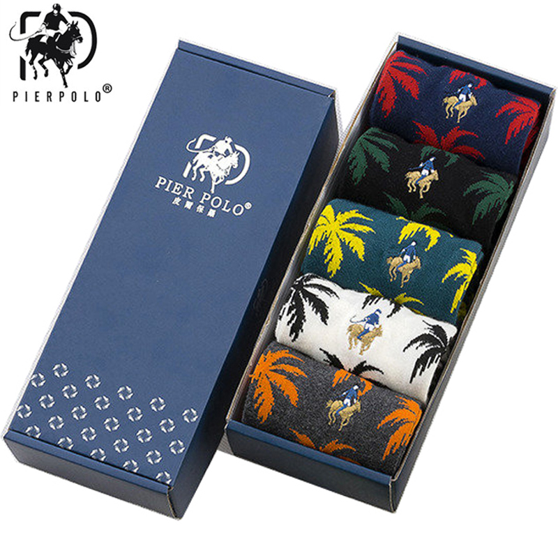 5 Pairs/lot PIER POLO Men Socks New Weed Autumn Winter Fashion Color Harajuku Leaves Pattern Cotton Socks Men's Dress Gifts 2019