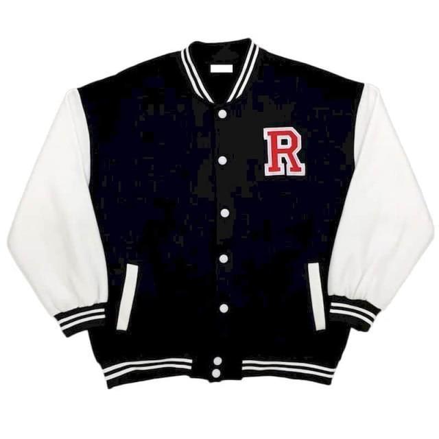 Autumn Harajuku jacket men baseball clothes women Hong Kong style retro letter embroidery plus velvet thick baseball uniform 3