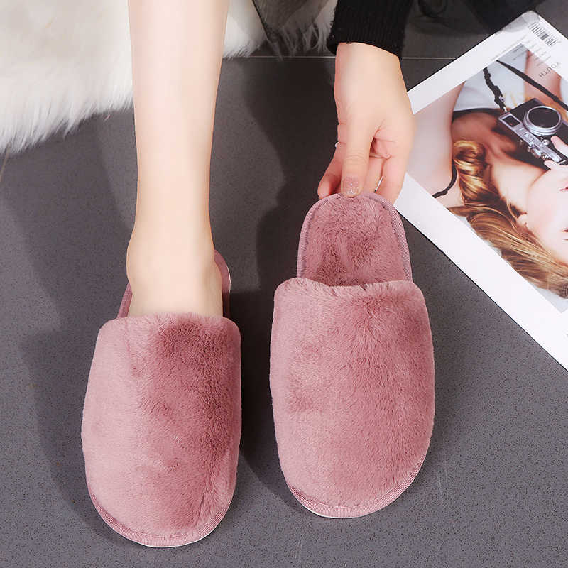 חורף בית כפכפים נעל חם מקורה נעלי אישה שקופיות עמיד למים כבש chaussures femme ורוד אפור שחור 7770