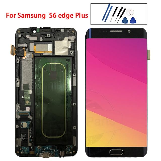 """5,7 """"Amoled для Samsung Galaxy S6 EDGE Plus G928 G928F ЖК дисплей кодирующий преобразователь сенсорного экрана в сборе Замена 100% протестирована"""