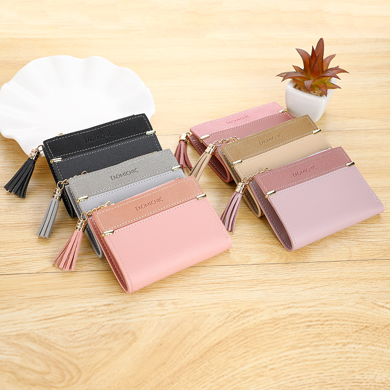 New Women Leather Pattern Coin Purse Passcard Short Wallet Pockets Note Compartment Passcard Card Holder Wallet Bag