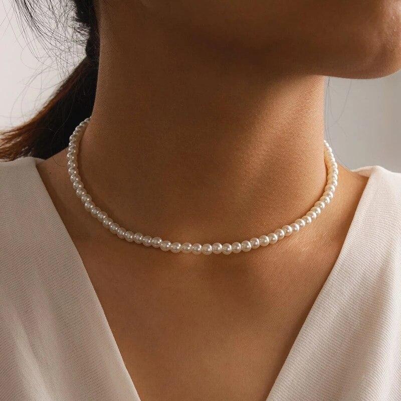 Чокер женский свадебный с искусственным жемчугом, простой элегантный белый небольшой ожерелье с круглым жемчугом, Минималистичная бижутер...