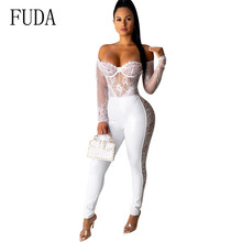 FUDA Newest Women Lace Floral White Long Sleeve Jumpsuits Sexy Off Shoulder See Through Patchwork PU Leather Bodycon Playsuits sexy white see through fishnet playsuits