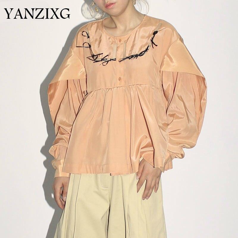 Automne Orange gris creux arc poupée chemises lâche grande taille Blouses femme 2019 mode grande taille O cou Top femmes Z794