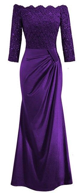 BacklakeGirls Elegant Lace Boat Neck Pleat Long Satin Evening Dress Floor-length Mother Of Bride Dress vestidos de mãe de noiva 6