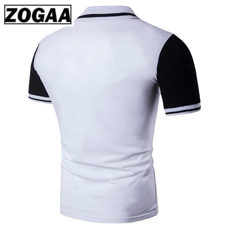 Zogaa 2019 여름 남성 폴로 셔츠 흑백 반팔 티셔츠 슬림 피트 캐주얼 영 폴로 셔츠 남성 의류
