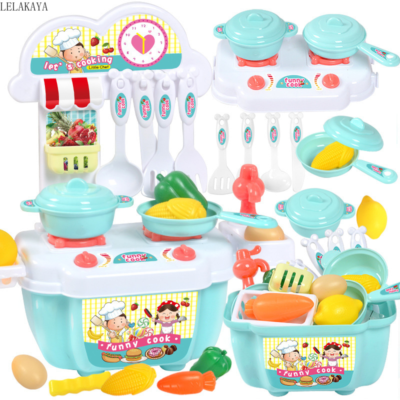 1 Set Plastic Mini Pretend Play Simulation Kitchenware Tableware Cookware Early Educational Kitchen Cooking House Toys Set New