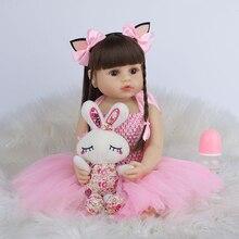 Кукла реборн силиконовая, Реалистичная кукла принцессы, очень мягкая, розовая, для ванной, 55 см