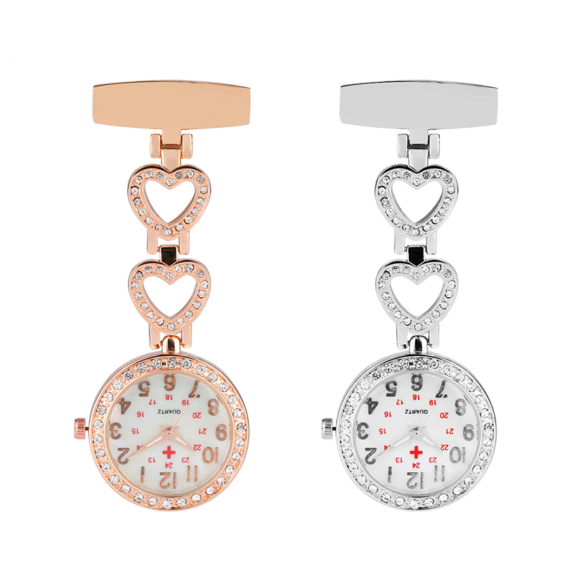 Exquisite Nurse Pocket Watch For Women Heart Diamonds Design Silver Rose Gold Stainless Steel Pendant Watches Reloj Enfermera