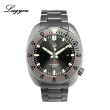 Lugyou San Martin Diver Men Watch Stainless Steel Sand blasted Sapphire 20ATM  Water Resistant Metal Bracelet Super Luminous san martin sixty five men vintage diving watch stainless steel automatic watch 200 water resistant bronze ring retro wristwatch