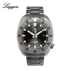 Image 1 - Lugyou San Martin Taucher Männer Uhr Mechanische Edelstahl Sand gestrahlt Sapphire 20ATM Wasserdicht Metall Armband Lum