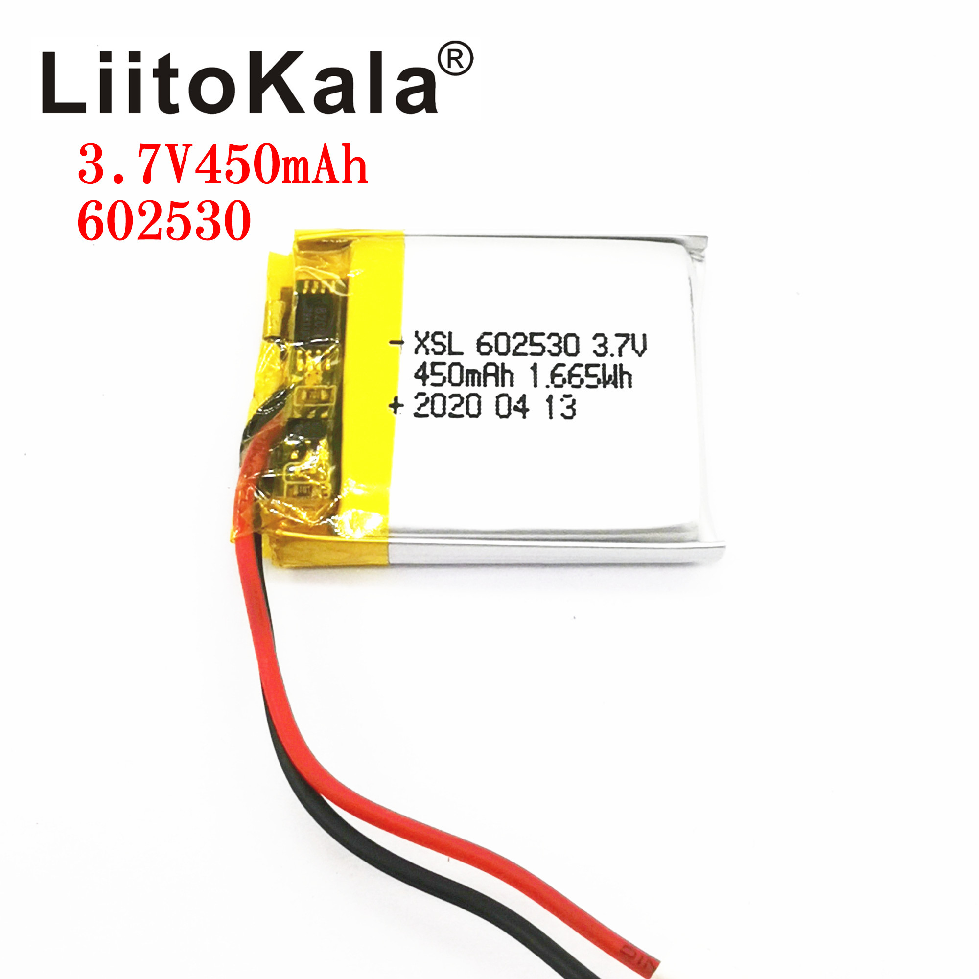 XSL <font><b>3.7V</b></font> 602530 <font><b>450mAh</b></font> Lithium Ion Polymer Battery <font><b>3.7v</b></font> Lithium Battery For MP4 MP5 GPS PSP Smart Watch Driving Recorder image