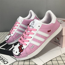 Anime Harajuku Cartoon Hello Cat Shoes Sneakers Kawaii Cat Printing Shoes For Women Girls