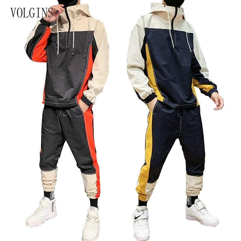 Streetwear Hip Hop Military Men Tracksuit Patchwork Zipper Men Jacket +Pant Set Tracksuit Casual Fashion Mens Suits Dropshipping