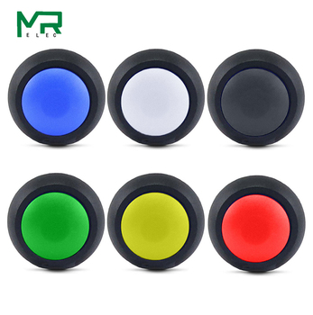1Pcs 2Pin Mini Button switch 12mm 1A waterproof switch pbs33b 12v momentary Push button Switch reset Non-locking pbs-33b 5x black red green yellow blue 12mm waterproof momentary push button switch