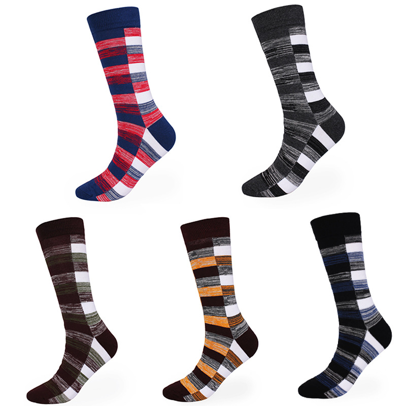 Brothock Plus Size Long Tube Plaid Men Socks Pure Cotton Autumn And Winter Thickened Running Stockings Warm Skin-friendly