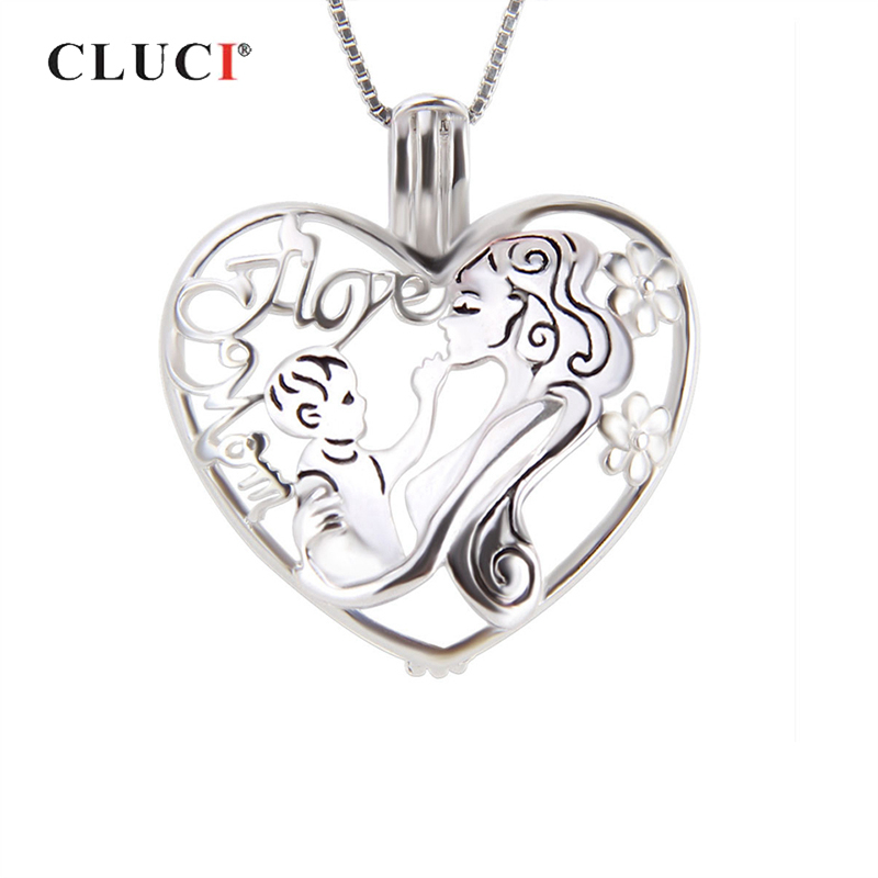CLUCI 925 Sterling Silver Heart Shaped Love Pendant Mom And Baby Mothers' Day Gift Women Silver Cage Pendant Pearl Locket