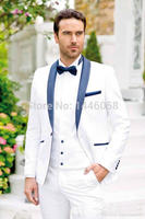 Tailor Made Mens Wedding Tuxedo 2018 Costume Male Smoking Coat Groom Wear 3 Pieces White Formal Dress Wedding Suits For Men