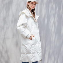 Winter 90% white duck down jacket thick down jacket 2019New women's coating coat hooded warm X-Long Doudoune Femme First song XL недорого