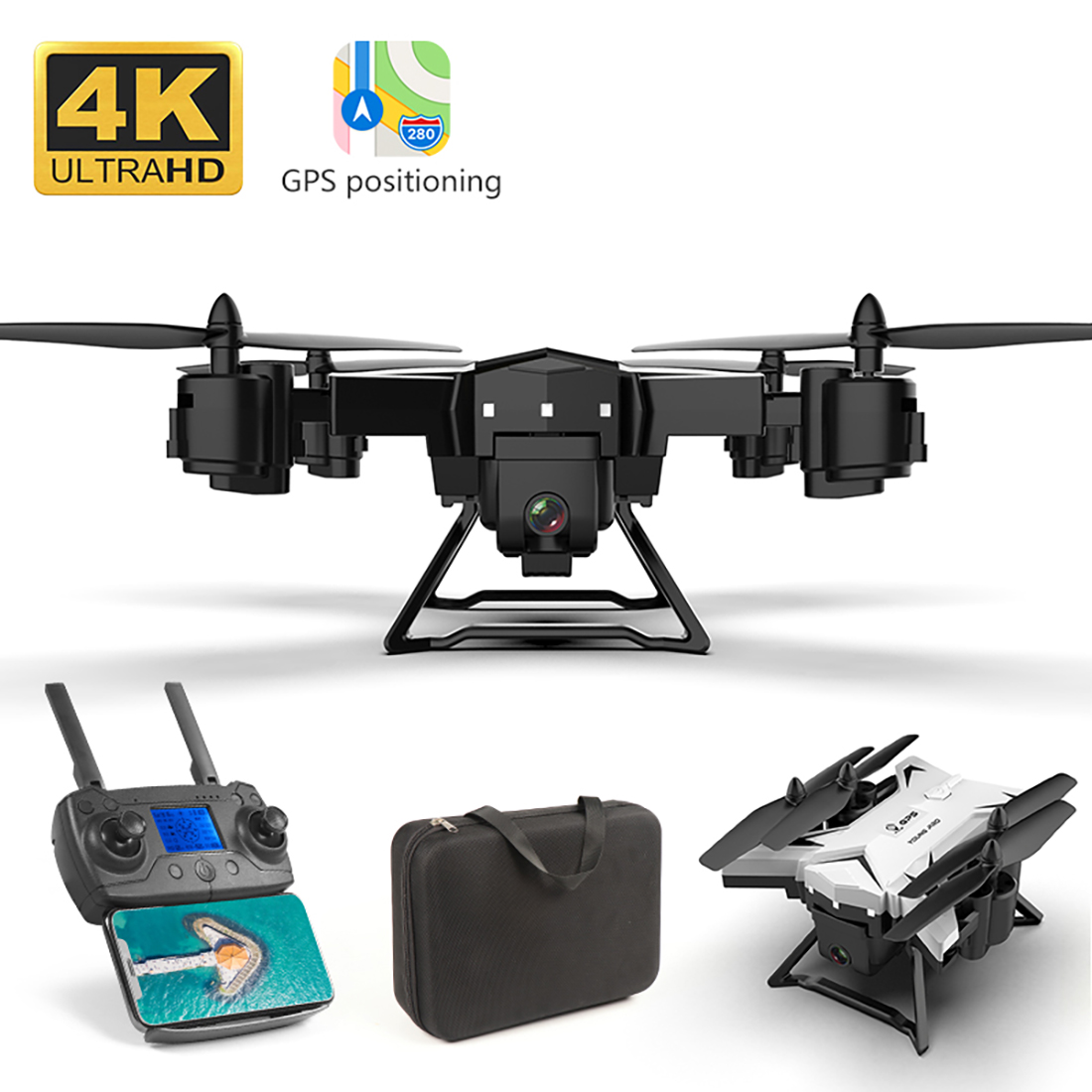 KY601G GPS Drone with 4K HD Camera 5G WIFI FPV RC Fold Quadcopter+2 battery+Bag
