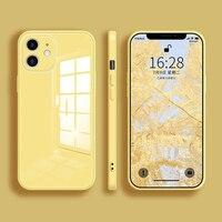 Funda cuadrada de vidrio templado para iPhone, 11 Pro max, 12 mini, SE 2020, X, Xs, max, XR, 7, 8 plus, de silicona