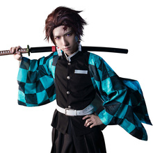 Anime Cosplay şeytan Slayer Kimetsu hiçbir Yaiba Cosplay Kamado Tanjirou Cosplay Agatsuma Zenitsu kostüm Kamado Nezuko Kimono Giyuu
