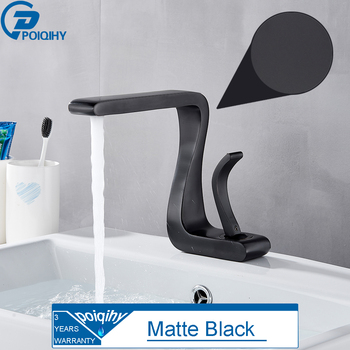 POIQIHY Chrome Basin Faucet Artistic Design Deck Mounted Bathroom Sink Water Tap Single Handle Cold Hot Basin Mixer Tap One Hole 7