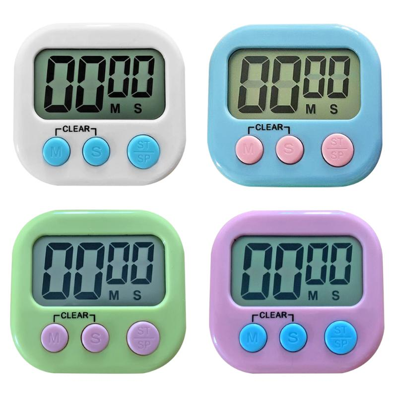 Mini LCD Digital Display Kitchen Timer Square Kitchen Countdown Alarm Magnet Clock Sleep Stopwatch Clock Timer  With Stand