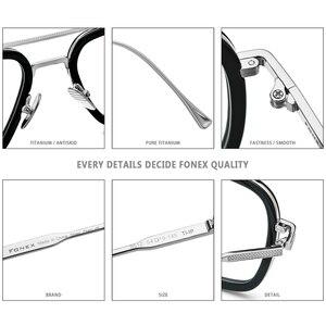 Image 4 - FONEX Pure Titanium Acetate Men Retro Tony Stark Glasses Frame Myopia Optical Edith Prescription Eyeglasses for Women 8512