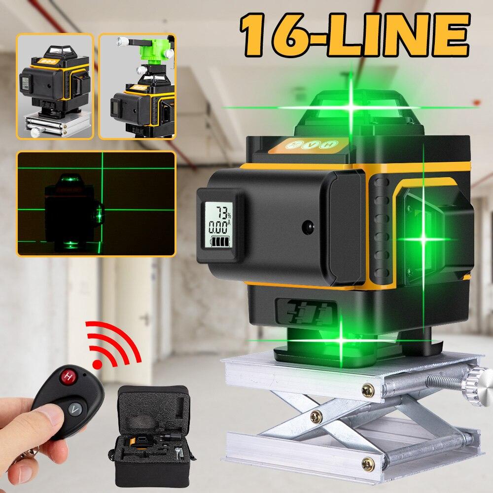 16 linhas 4d laser verde nível auto-nivelamento remoto sem fio com bateria digital