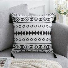 Black and White Velvet pillowcase/ cushion / pillow sham Geometric Decorative Pillow ( not include pillow core ) 45x45CM