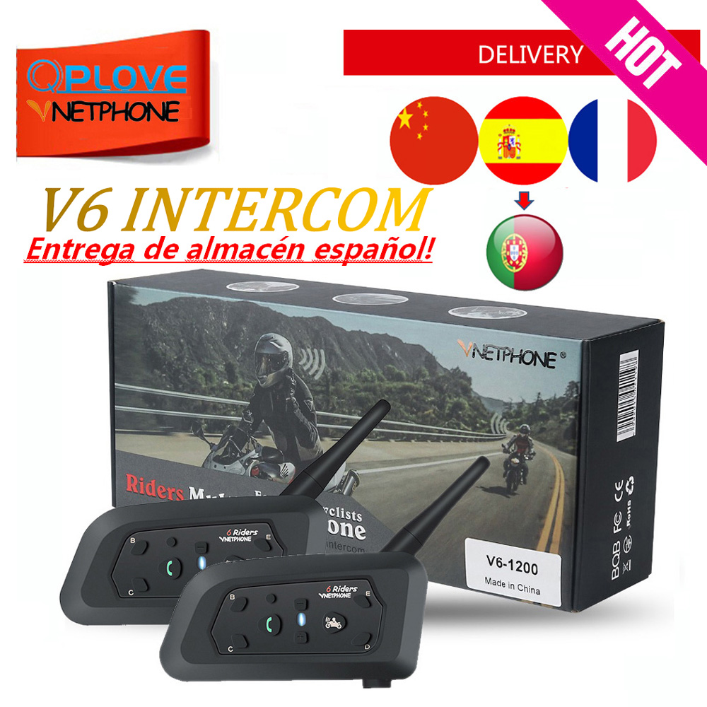 Vnetphone Intercom Motorcycle-Accessories Talking-Supports Bluetooth Helmet Music QPLOVE