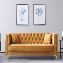 Good quality High-end yellow double three-seat sofa