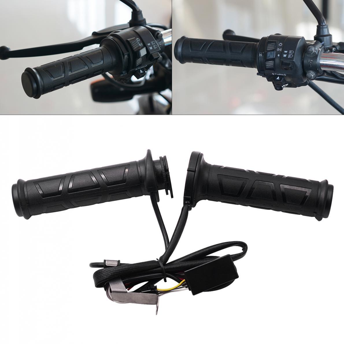 1 Pair 12V 12W-24W 22MM Adjustable Temperature Motorcycle Handlebar Universal Electric Heated Handle Motorbike Heating Grips Set