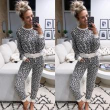 Women Pajamas Set Leopard Long Sleeve O-Neck Tops None Pants