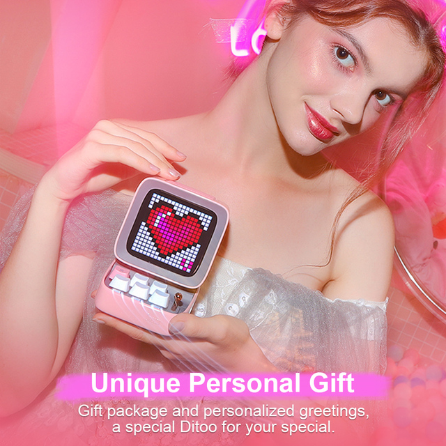 Divoom Ditoo Retro Pixel art Bluetooth Portable Speaker Alarm Clock DIY LED Screen By APP Electronic Gadget gift Home decoration 6