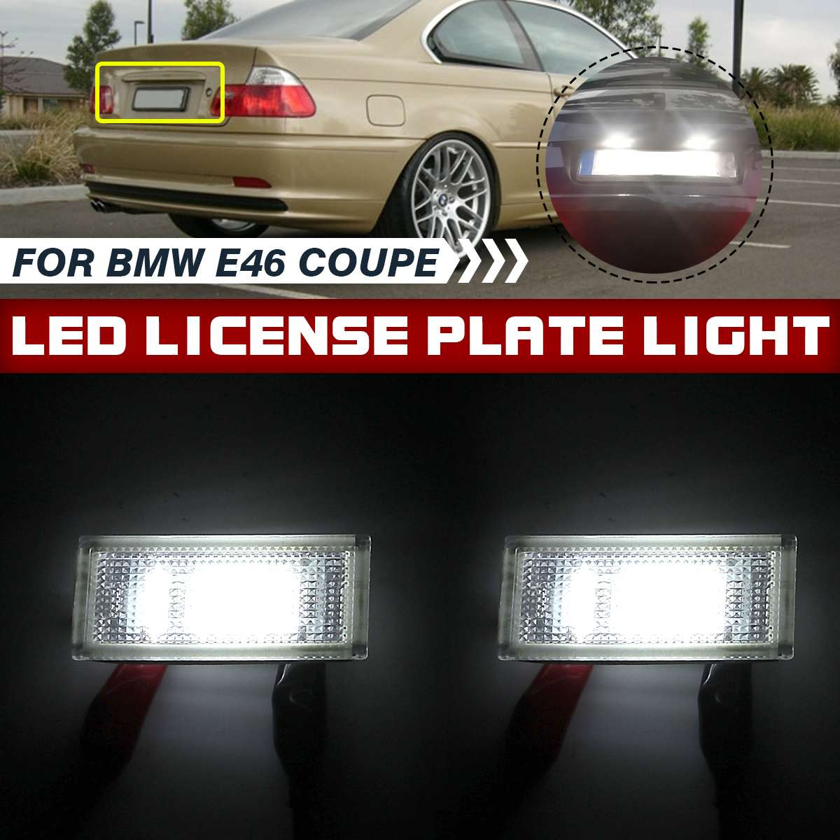 Pair LED Number Plate Lights For BMW 3 Series E46 2 Door Coupe Convertible M3 2004 2005 2006 License Lamp Rear Tail Light Bright