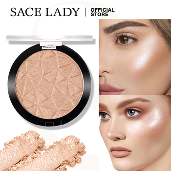 SACE LADY Highlighter Powder Glitter Palette Makeup Glow Face Shimmer Illuminator Make Up Highlight Pallete Cosmetics Wholesale недорого