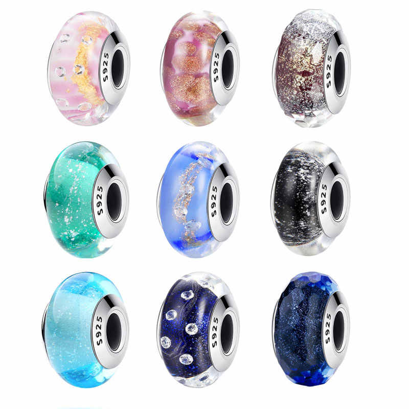 925 Sterling Silver 14 Styles Exquisite Murano Glass Beads Charm fit Original PAN Charm Bracelet & Bangles Beads Glass Jewelry