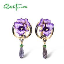 SANTUZZA Silver Earrings For Women Genuine 925 Sterling Silver Purple Flower Drop Earrings Gift Fine Jewelry Handmade Enamel