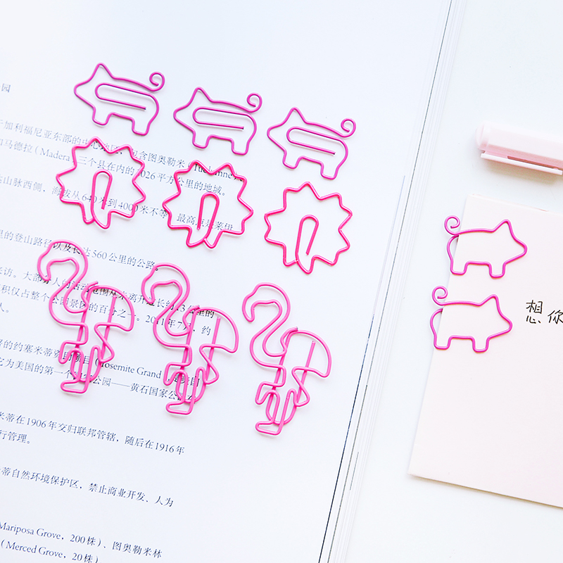 10pcs/pack Flamingo Cherry Blossom Shaped Small Paper Clips Bookmark Clips Cute Desk Accessories Office Supplies Birthday Gift