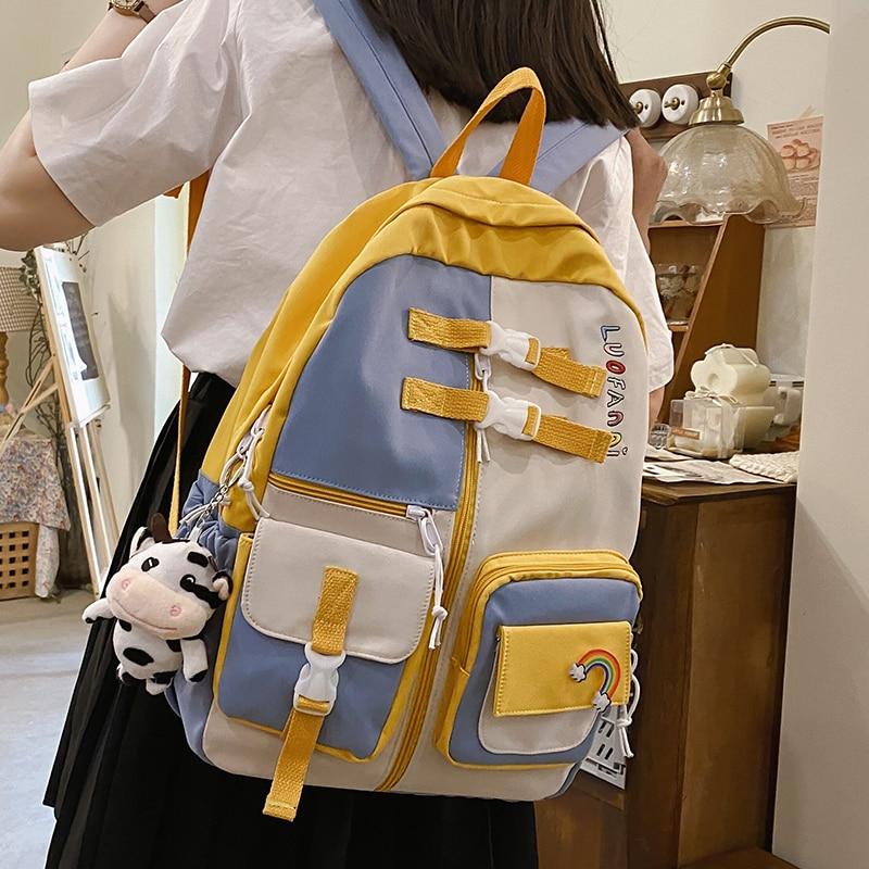 Trendy Colorful Women Travel Backpack Waterproof Nylon School Backpack for Teenage Girls Boys College Book Laptop Rucksack