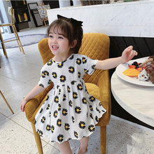 Girls summer small daisy flower dress elegant sweet temperament dress cotton and linen short sleeve halter bow tie banquet dress short sleeve self tie dolman dress