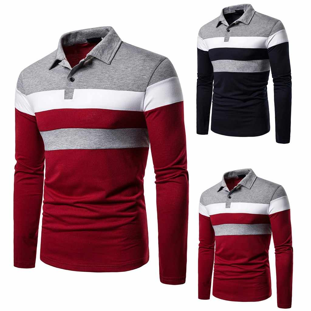 Kaus Polo Pria Panjang Lengan Patchwork Kaos Polo Tombol Slim Fit Turn-Down Kerah Lengan Panjang Top Plus ukuran Blus # G2