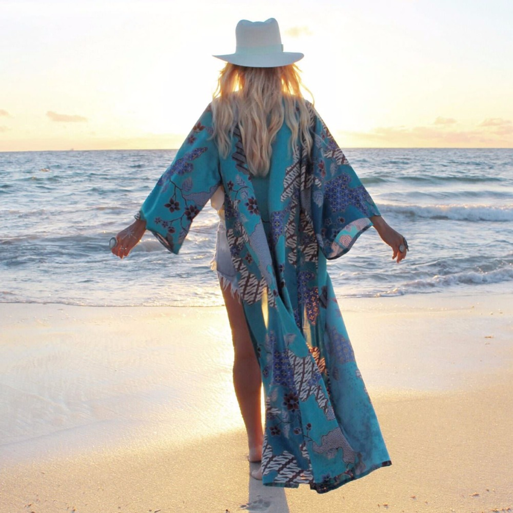 Classic Ethnic Vintage Blouses Women Geometric Print Kimono Fashion Cardigan Long Blouse Casual Femme Cover Elegant Loose Tops