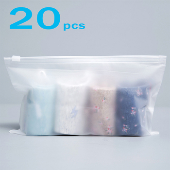 20pcs/pack Matte Clear Plastic Storage Bag Travel Bags Zip Lock Valve Slide Seal Packing Pouch Bags LBShipping image