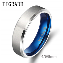 цена Tigarde 100% Titanium Ring for Man 4/6/8/10mm Silver Color Classic Wedding Engagement Jewelry Band For female Male Couple Rings онлайн в 2017 году