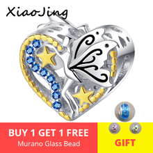 Hot Sale 925 Sterling Silver Blue CZ Energetic Elf Heart Charms Gold Star Bead fit Original pandora DIY Bracelet Jewelry Gift цена 2017