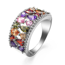 2019 Fashion Unique Design 925 Sterling Silver Mona Lisa Ring For Female Wedding with AAA Colorful Cubic Zircon Bijouterie Gifts charm new fashion unique design rose gold color ring for female wedding with aaa colorful cubic zircon christmas ring